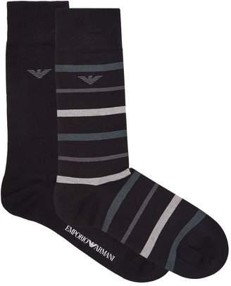 Emporio Armani Stretch Cotton Striped Socks (Pack of 3)