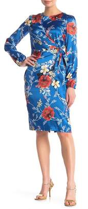 Maggy London Crossover Tie Front Floral Dress