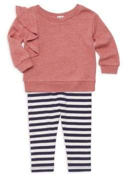 Splendid Baby Girl's Two-Piece Ruffle Sweatshirt& Stripe Leggings Set