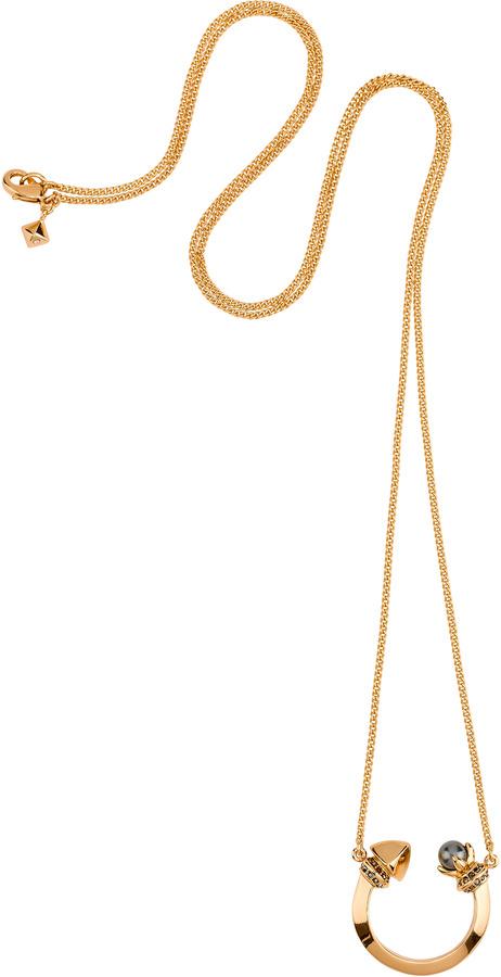 Rebecca Minkoff Curbs Pearl Crescent Necklace