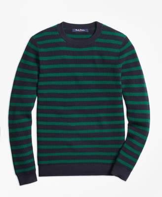Brooks Brothers Cotton Waffle Stitch Stripe Crewneck Sweater