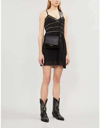 The Kooples Chain-embellished frilled woven mini dress