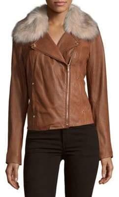 Moto Faux Fur-Trimmed Jacket