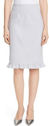 Rebecca Taylor Tailored by Ruffle Hem Linen Blend Pencil Skirt