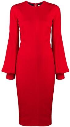 Victoria Beckham slash sleeve fitted midi dress