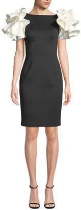 Jovani Bateau-Neck Knee-Length Scuba Dress w/ Contrast Puff Sleeves