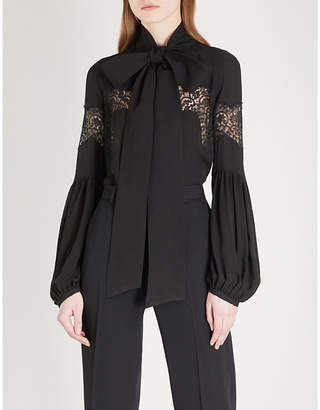 Givenchy Lace-panel balloon-sleeve silk blouse