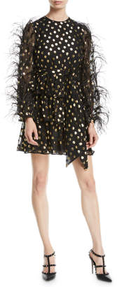 Valentino Jewel-Neck Ostrich-Feather Long-Sleeve Metallic-Dot Cocktail Dress