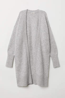 H&M Long Wool-blend Cardigan - Gray