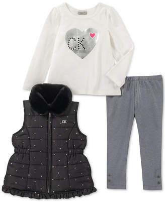 Calvin Klein Toddler Girls 3-Pc. Vest, T-Shirt & Leggings Set