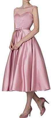 DINGZAN Tea Length Satin Bridesmaid Dresses Mother of The Bride Gowns