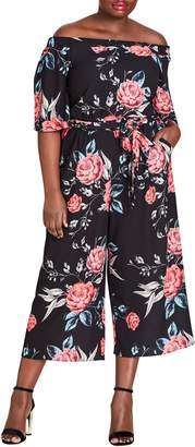 City Chic Off the Shoulder Cropped Jumpsuit