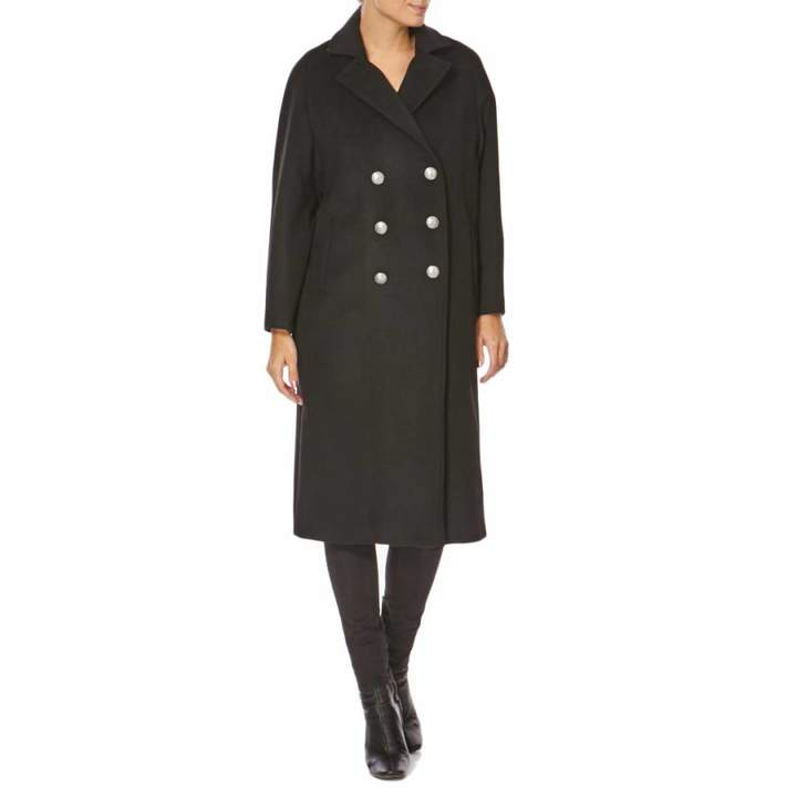 Black Double Breasted Wool Blend Coat