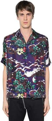 DSQUARED2 Hawaii Printed Silk Satin Bowling Shirt