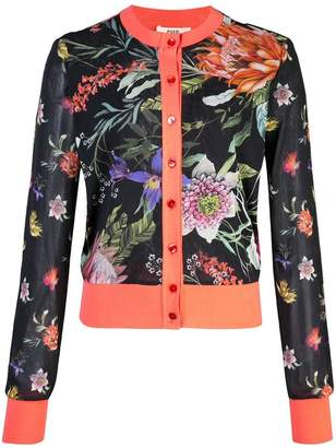 Fuzzi floral intarsia cardigan