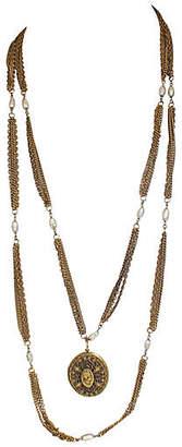 One Kings Lane Vintage Goldette Cameo & Pearl Locket Necklace - Laurie Frank