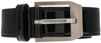 Saint Laurent Patent Rive Gauche Belt in Black | FWRD