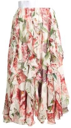 Dolce & Gabbana Ruffled Floral Print Silk Chiffon Midi Skirt - Womens - White Multi