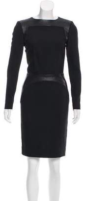 L'Agence Leather-Trimmed Knee-Length Dress