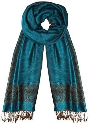 Couture Peach Women's Ravishing Reversible Jacquard Paisley Shawl Wrap Pashmina Blue Gold