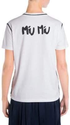 Miu Miu Stamp Logo Cotton Jersey Tee