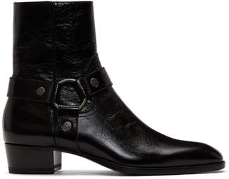 Saint Laurent Black Wyatt Harness Boots
