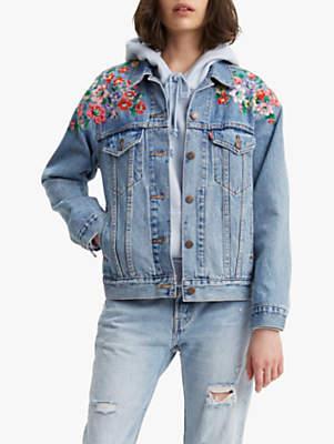 9e75d04077cfa Levi s Ex Boyfriend Embroidered Trucker Denim Jacket