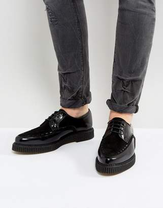 Asos DESIGN Lace Up Shoes In Black Leather With Creeper Sole
