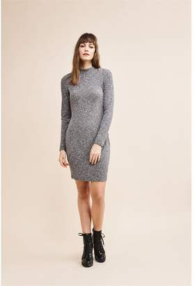 Dynamite Long Sleeve Dress With Snaps Grey Marl