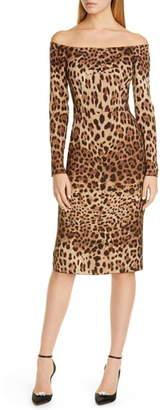 Dolce & Gabbana Off the Shoulder Leopard Print Long Sleeve Wool Dress