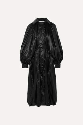 Givenchy Hooded Glossed-shell Coat - Black