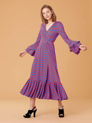 Diane Von Furstenberg Puff Sleeve Wrap Dress