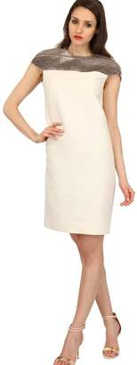 Bally Wool Blend Gauze & Snakeskin Dress