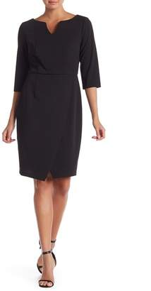 Connected Apparel 3\u002F4 Length Sleeve Solid Dress
