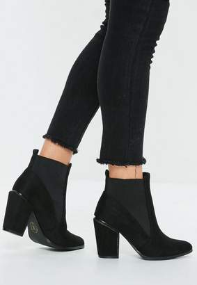 Missguided Black Faux Suede Western Boot