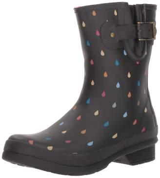 Chooka Women's Waterproof Mid-Height Printed Rain Boot with Memory Foam Calf Dot Black 10 M US