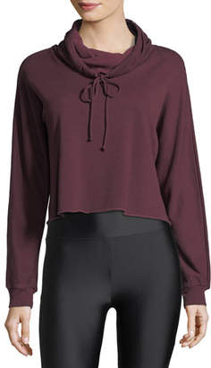 Lanston Funnel-Neck Boxy Cropped Pullover