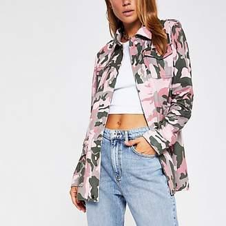River Island Khaki camo faux suede utility jacket