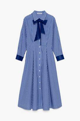 Genuine People Plaid Collared Maxi Dress