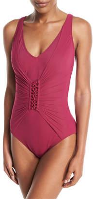 Gottex Landscape Lacing-Detail One-Piece Swimsuit