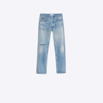 Balenciaga 5-pocket fitted straight leg denim pants with knee hole