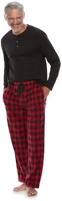 Chaps Men's Henley & Plaid Fleece Lounge Pants Set