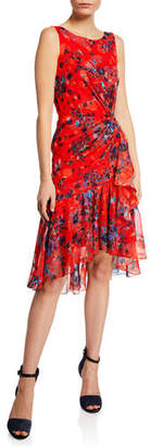 Marchesa Burnout Floral-Print Sleeveless Chiffon Dress w/ Cascading Side Ruffle