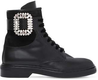 Roger Vivier 25mm Viv Rangers Strass Leather Boots