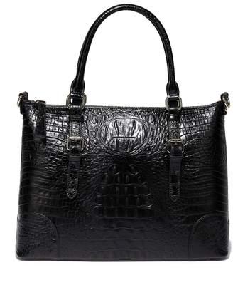 Vicenzo Leather Marvee Croc Embossed Leather Tote Bag