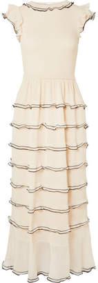 RED Valentino Tiered Cotton-blend Midi Dress - Cream