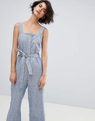 Warehouse Button Culotte Stripe Jumpsuit