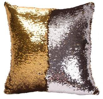 GlowSol Double Layer and Double Color Sequins Pattern Variable Back Cushion Pillow 40*40CM Color:gold and silvery white