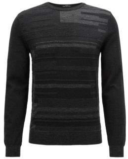 BOSS Hugo Slim-fit knitted sweater Bauhaus-inspired melange graphic L Black