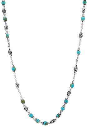 """John Hardy Sterling Silver Classic Chain Turquoise with Black Matrix Beaded Necklace, 28"""""""